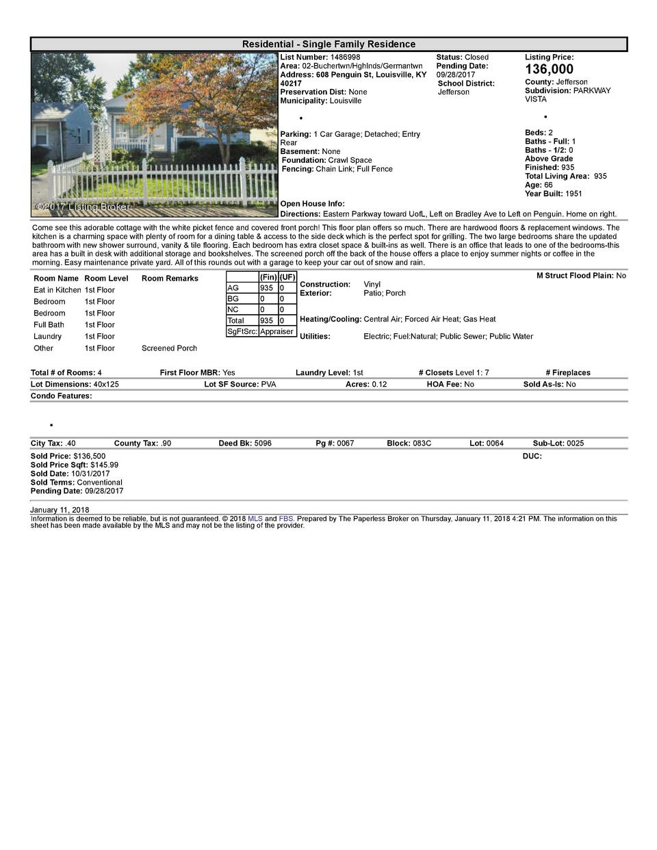 Residential      Single  Family  Residence List  Number   1486998    Status   Closed Area   02  Buchertwn Hghlnds Germa...