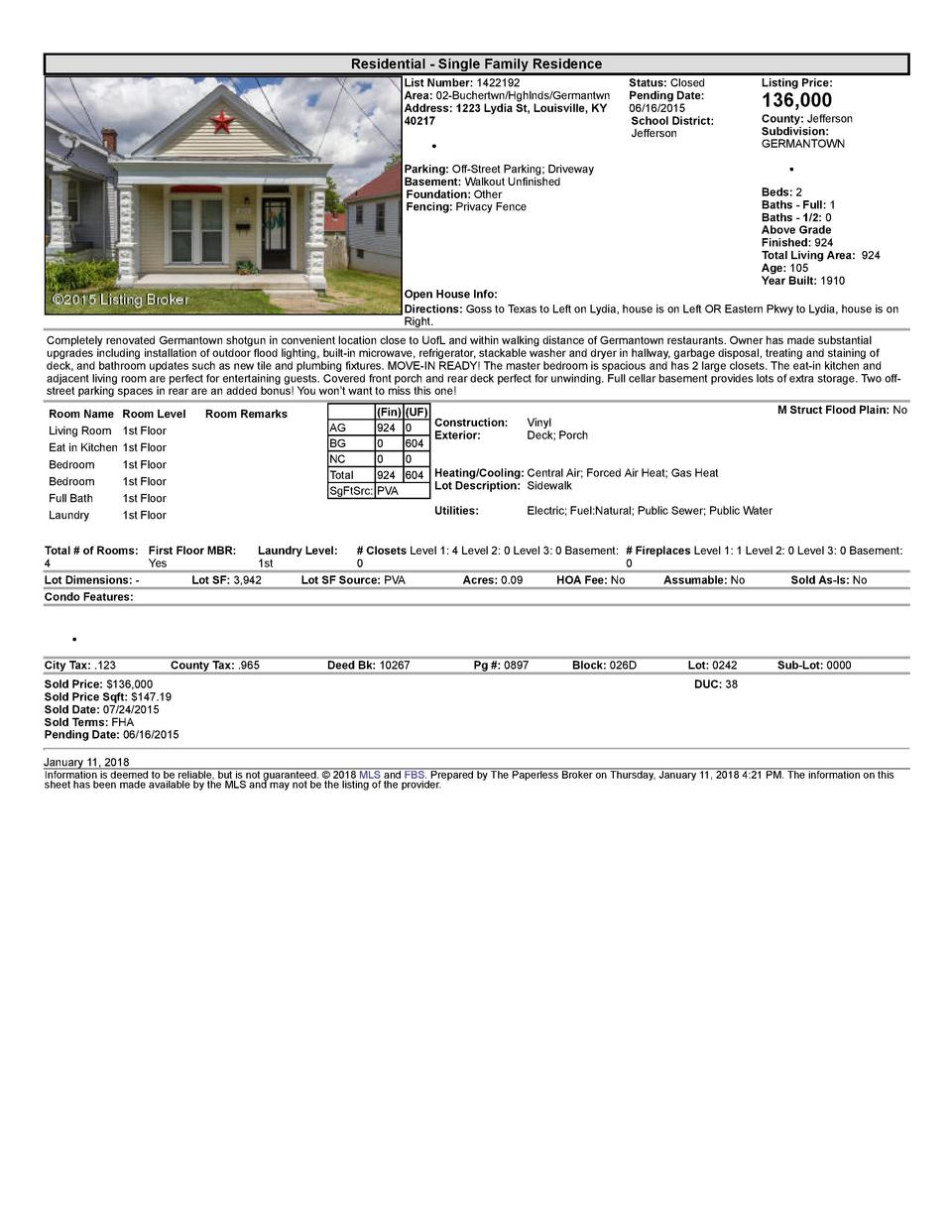 Residential      Single  Family  Residence List  Number   1422192 Area   02  Buchertwn Hghlnds Germantwn Address   1223...