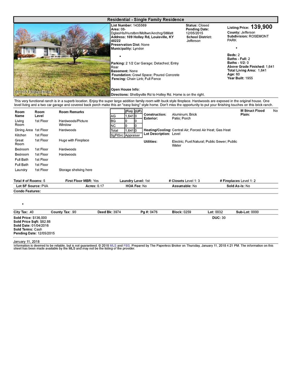 Residential      Single  Family  Residence List  Number   1435569 Area   08   DglasHls Hurstbrn Mdltwn Anchrg StMatt Ad...