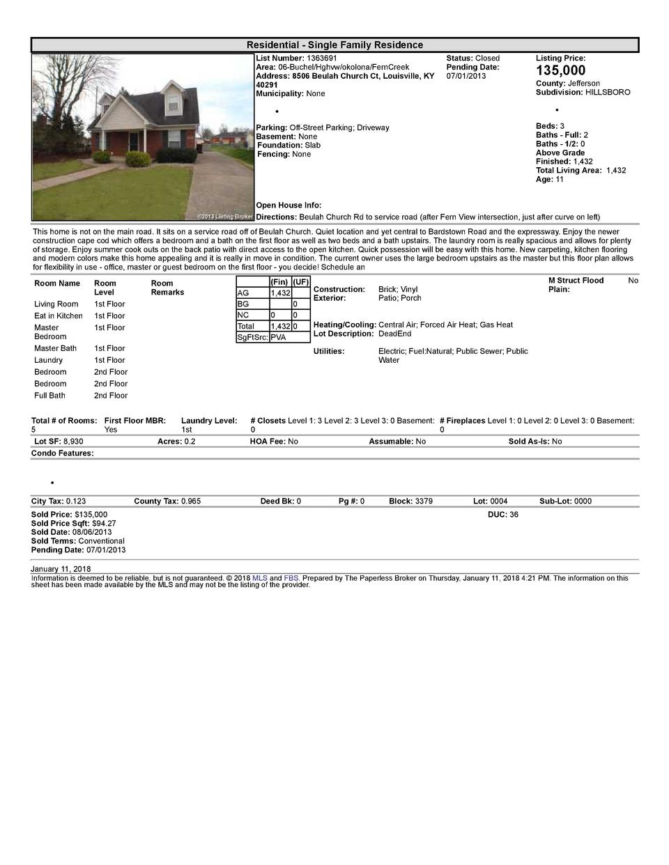 Residential      Single  Family  Residence List  Number   1363691 Area   06  Buchel Hghvw okolona FernCreek Address   8...