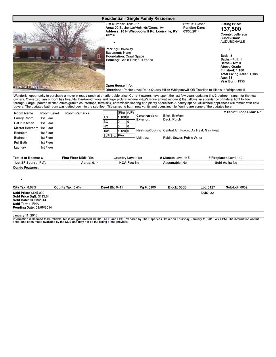 Residential      Single  Family  Residence List  Number   1381967 Area   02  Buchertwn Hghlnds Germantwn Address   1614...