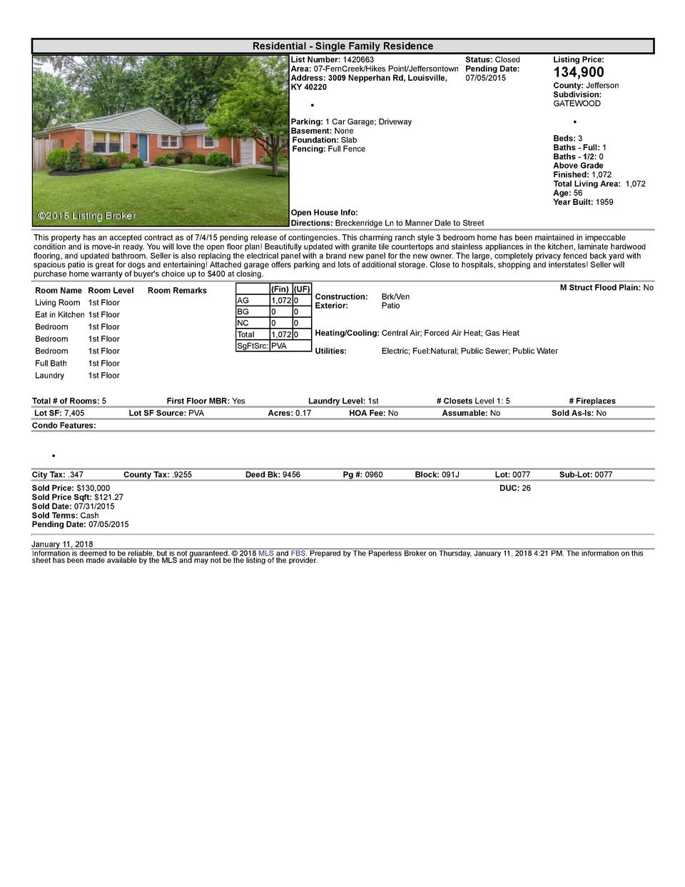 Residential      Single  Family  Residence List  Number   1420663    Status   Closed Area   07  FernCreek Hikes  Point ...