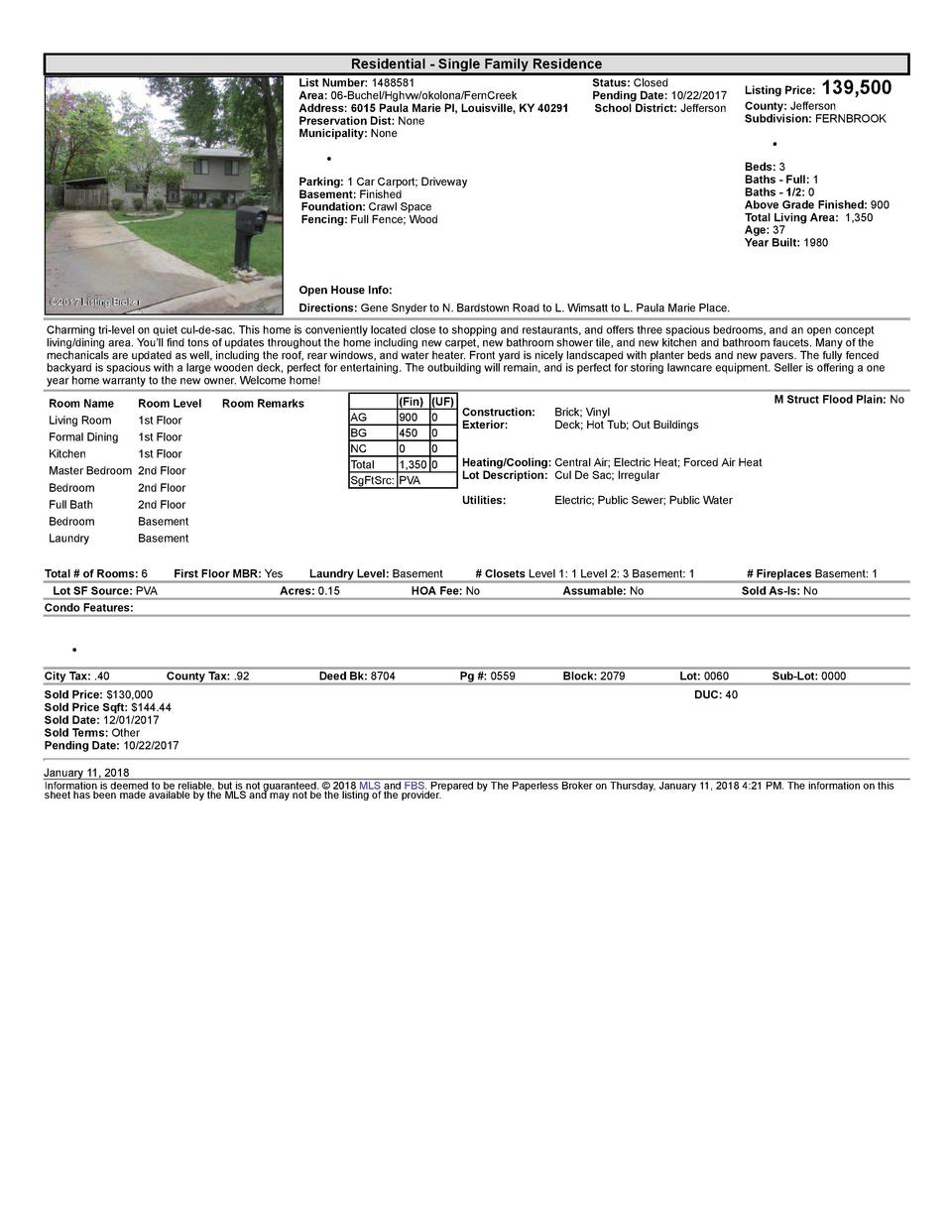 Residential      Single  Family  Residence List  Number   1488581    Area   06  Buchel Hghvw okolona FernCreek Address ...