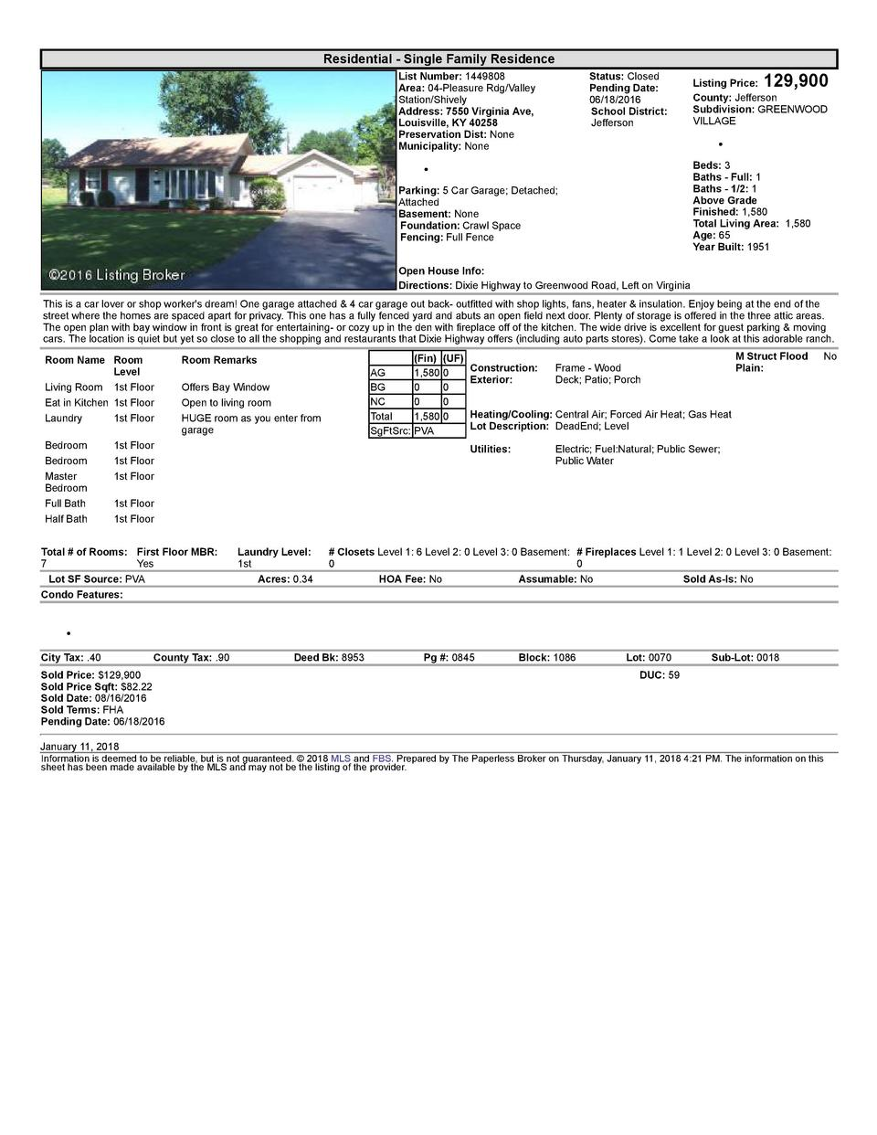 Residential      Single  Family  Residence List  Number   1449808 Area   04  Pleasure  Rdg Valley Station Shively Addre...