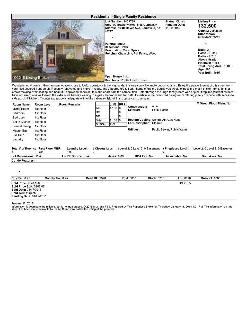 Residential      Single  Family  Residence List  Number   1409729 Area   02  Buchertwn Hghlnds Germantwn Address   1010...