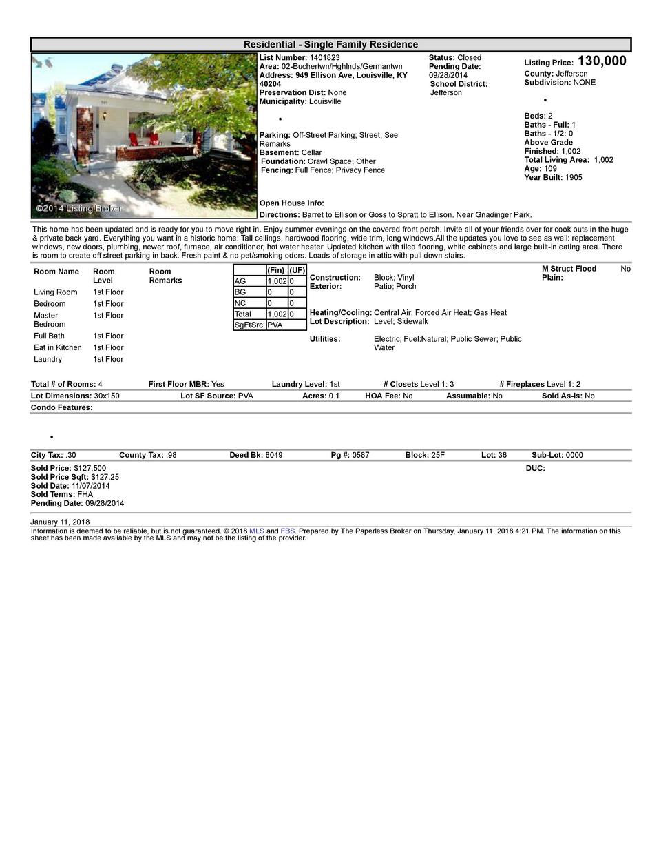 Residential      Single  Family  Residence List  Number   1401823 Area   02  Buchertwn Hghlnds Germantwn Address   949 ...