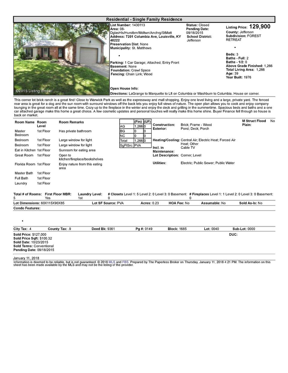 Residential      Single  Family  Residence List  Number   1430113 Area   08   DglasHls Hurstbrn Mdltwn Anchrg StMatt Ad...
