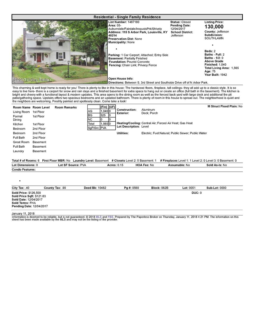 Residential      Single  Family  Residence List  Number   1487180    Status   Closed Area   05   Pending  Date  Auburnd...