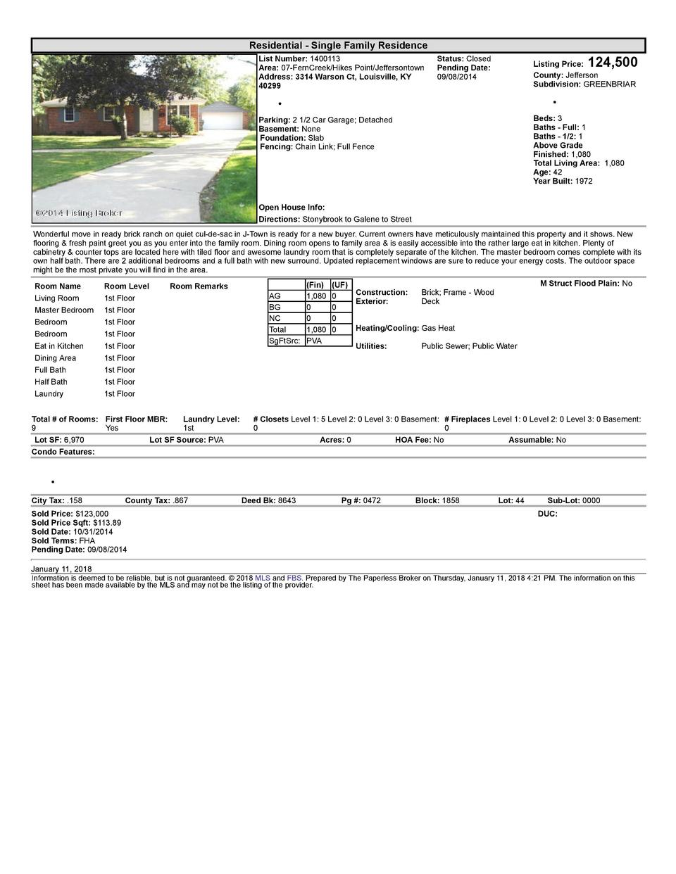 Residential      Single  Family  Residence List  Number   1400113 Area   07  FernCreek Hikes  Point Jeffersontown Addre...
