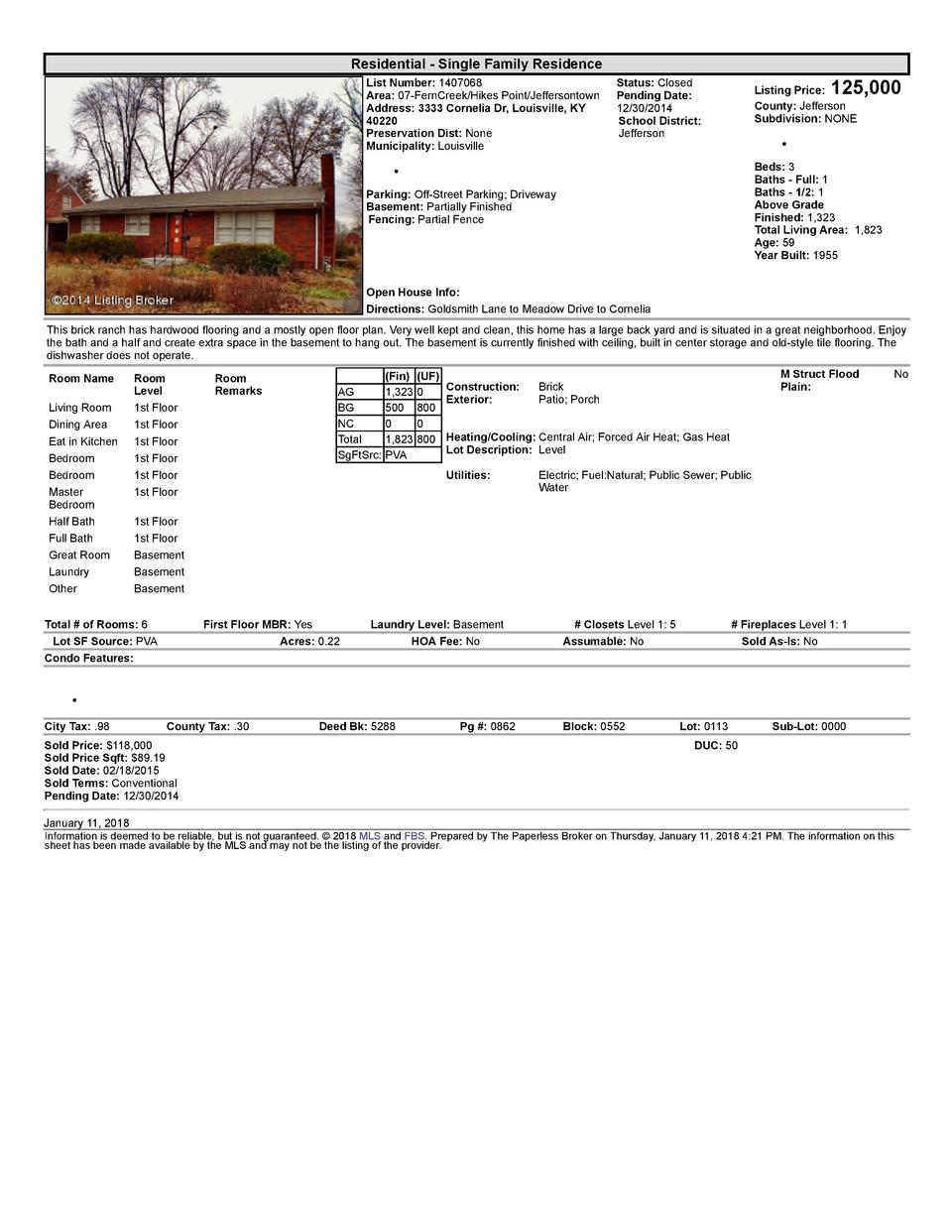 Residential      Single  Family  Residence List  Number   1407068 Area   07  FernCreek Hikes  Point Jeffersontown Addre...