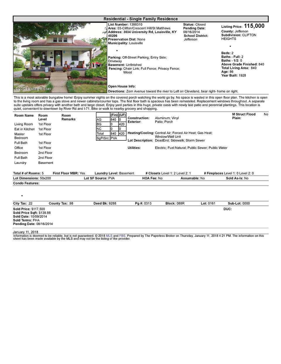Residential      Single  Family  Residence List  Number   1398310 Area   03  Clifton Crescent  Hill St  Matthews Addres...