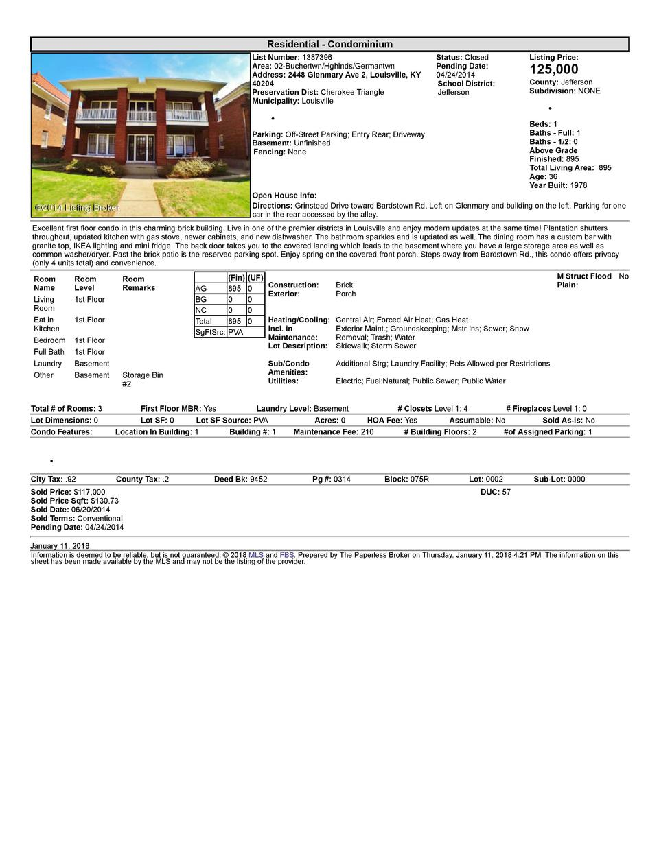 Residential      Condominium List  Number   1387396 Area   02  Buchertwn Hghlnds Germantwn Address   2448  Glenmary  Av...