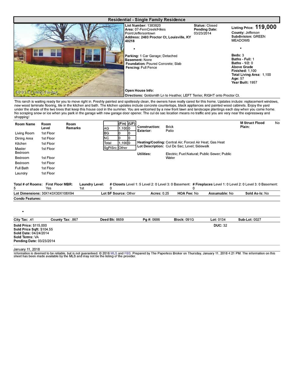 Residential      Single  Family  Residence List  Number   1383820    Status   Closed Area   07  FernCreek Hikes Pending...