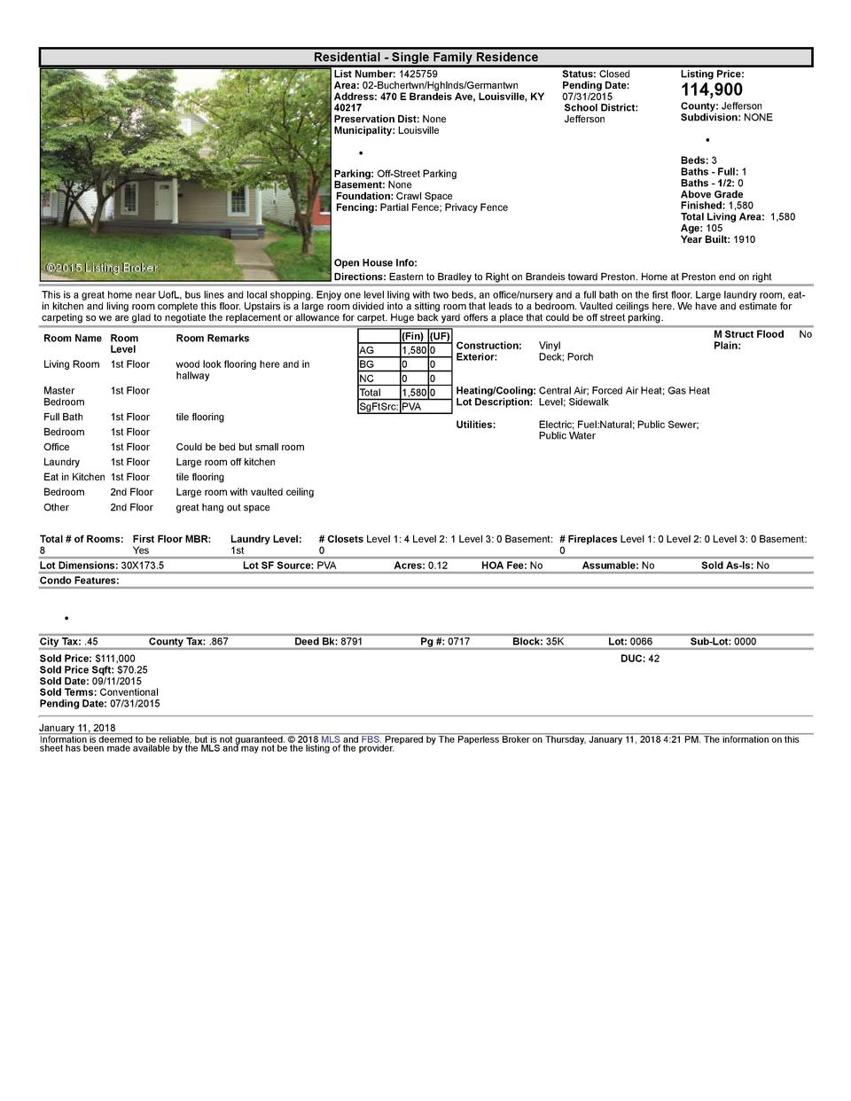 Residential      Single  Family  Residence List  Number   1425759 Area   02  Buchertwn Hghlnds Germantwn Address   470 ...