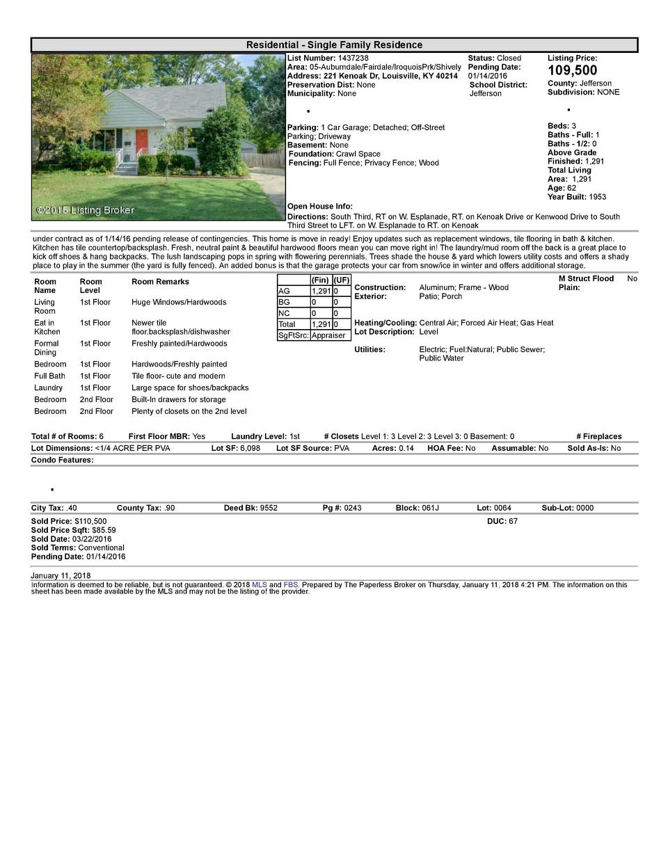 Residential      Single  Family  Residence List  Number   1437238    Status   Closed Area   05  Auburndale Fairdale Iro...