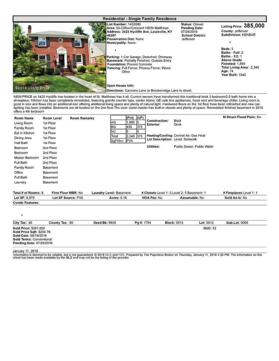Residential      Single  Family  Residence List  Number   1453580 Area   03  Clifton Crescent  Hill St  Matthews Addres...