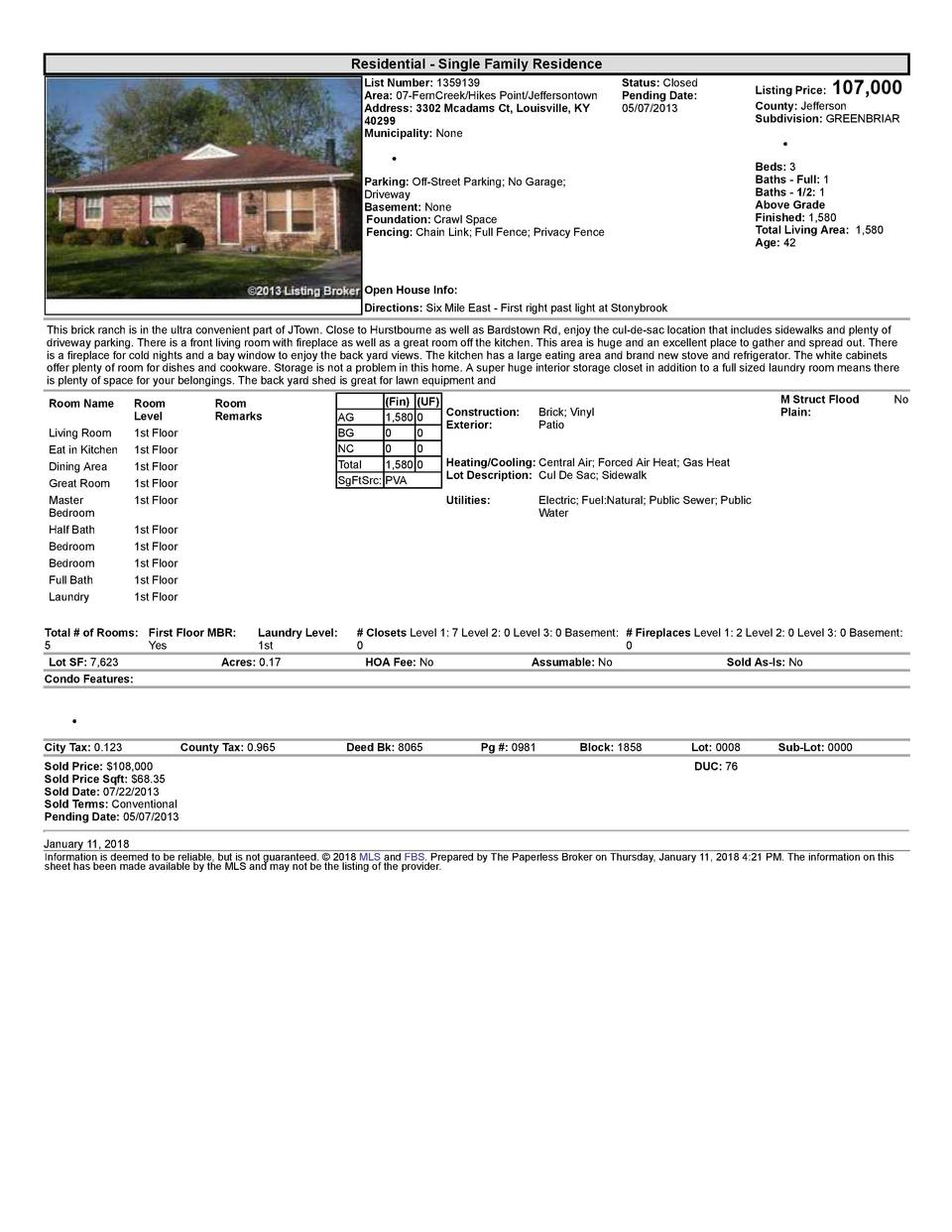 Residential      Single  Family  Residence List  Number   1359139 Area   07  FernCreek Hikes  Point Jeffersontown Addre...