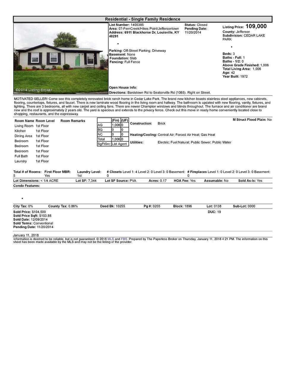 Residential      Single  Family  Residence List  Number   1405385 Area   07  FernCreek Hikes  Point Jeffersontown Addre...