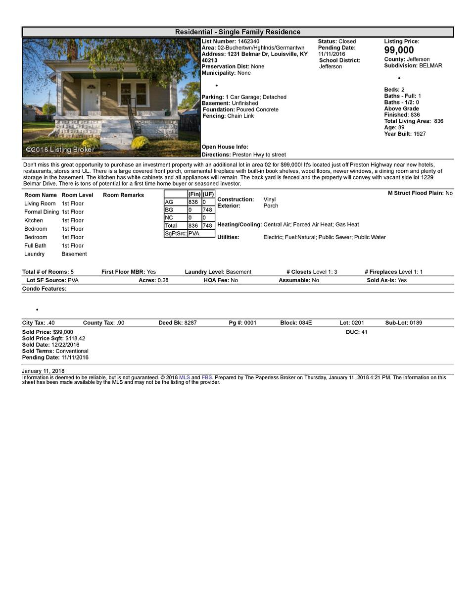 Residential      Single  Family  Residence List  Number   1462340 Area   02  Buchertwn Hghlnds Germantwn Address   1231...