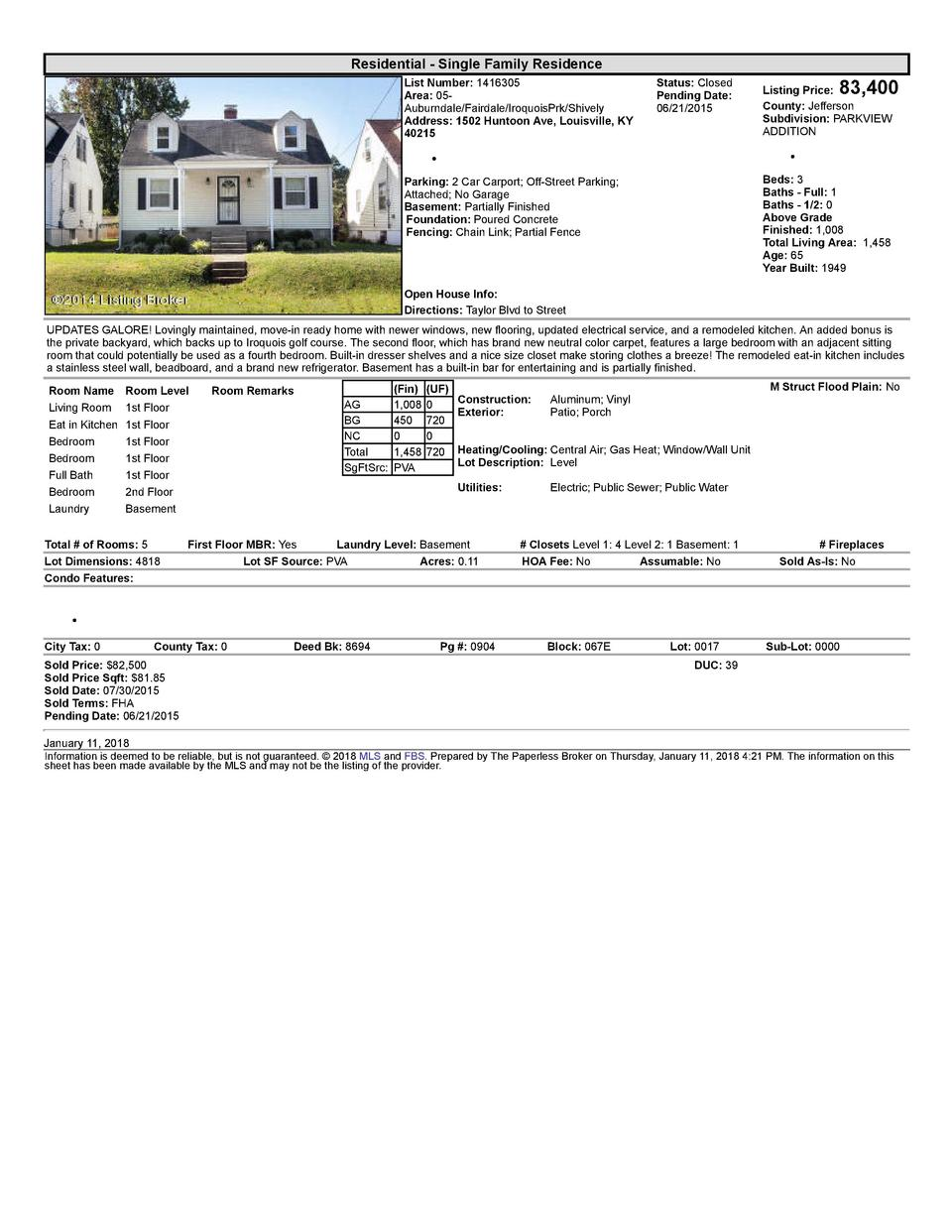 Residential      Single  Family  Residence List  Number   1416305 Area   05   Auburndale Fairdale IroquoisPrk Shively A...
