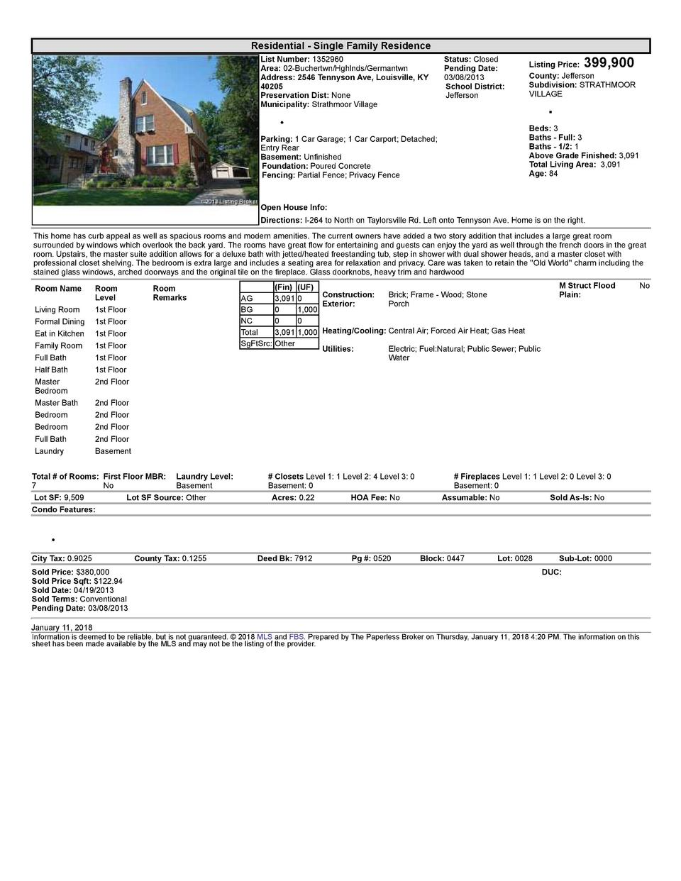 Residential      Single  Family  Residence List  Number   1352960 Area   02  Buchertwn Hghlnds Germantwn Address   2546...