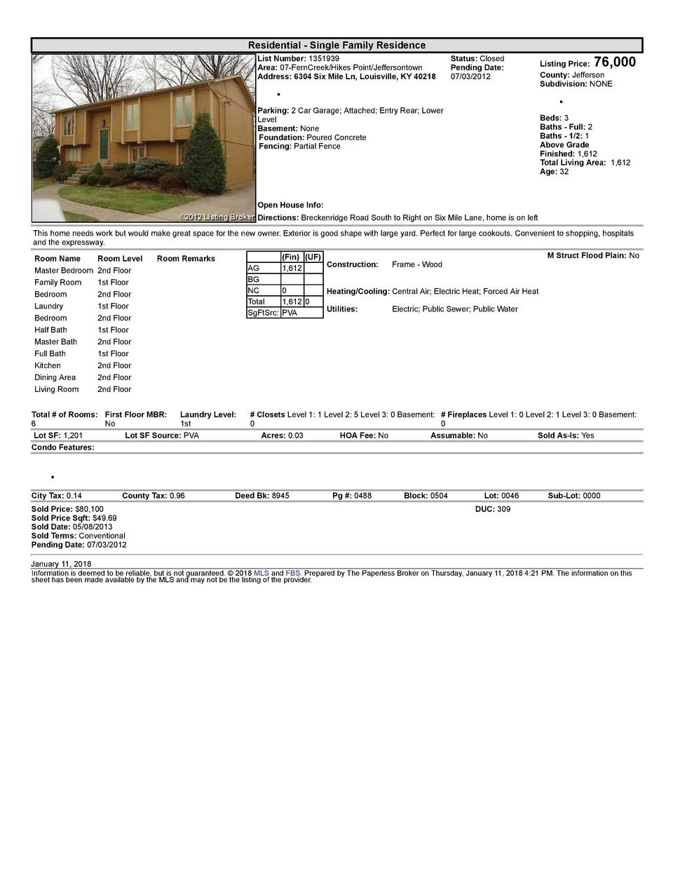 Residential      Single  Family  Residence List  Number   1351939 Area   07  FernCreek Hikes  Point Jeffersontown Addre...