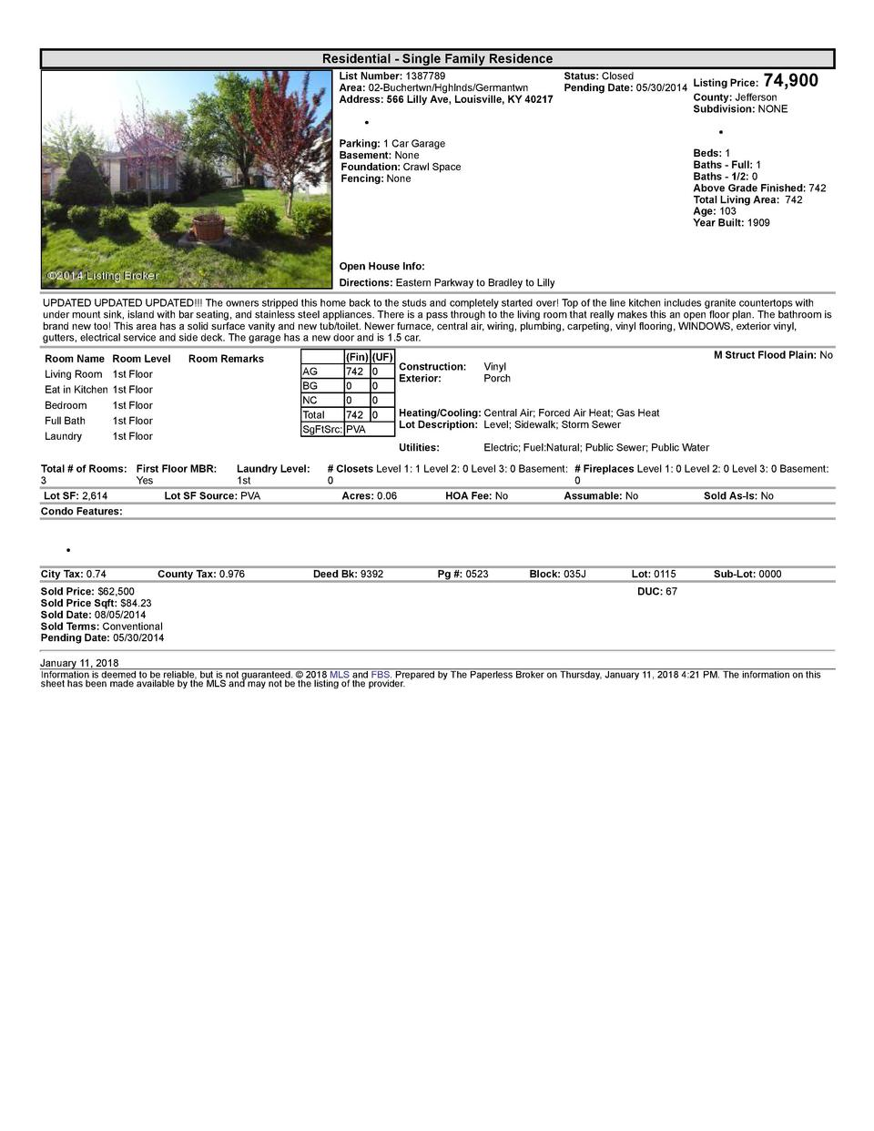 Residential      Single  Family  Residence    74,900  List  Number   1387789    Status   Closed Area   02  Buchertwn Hg...