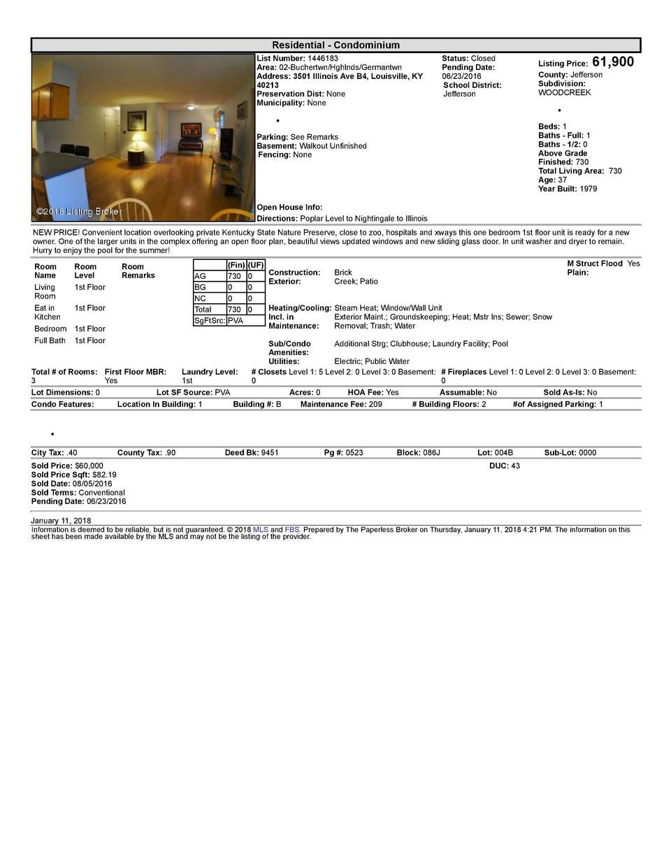 Residential      Condominium List  Number   1446183 Area   02  Buchertwn Hghlnds Germantwn Address   3501  Illinois  Av...