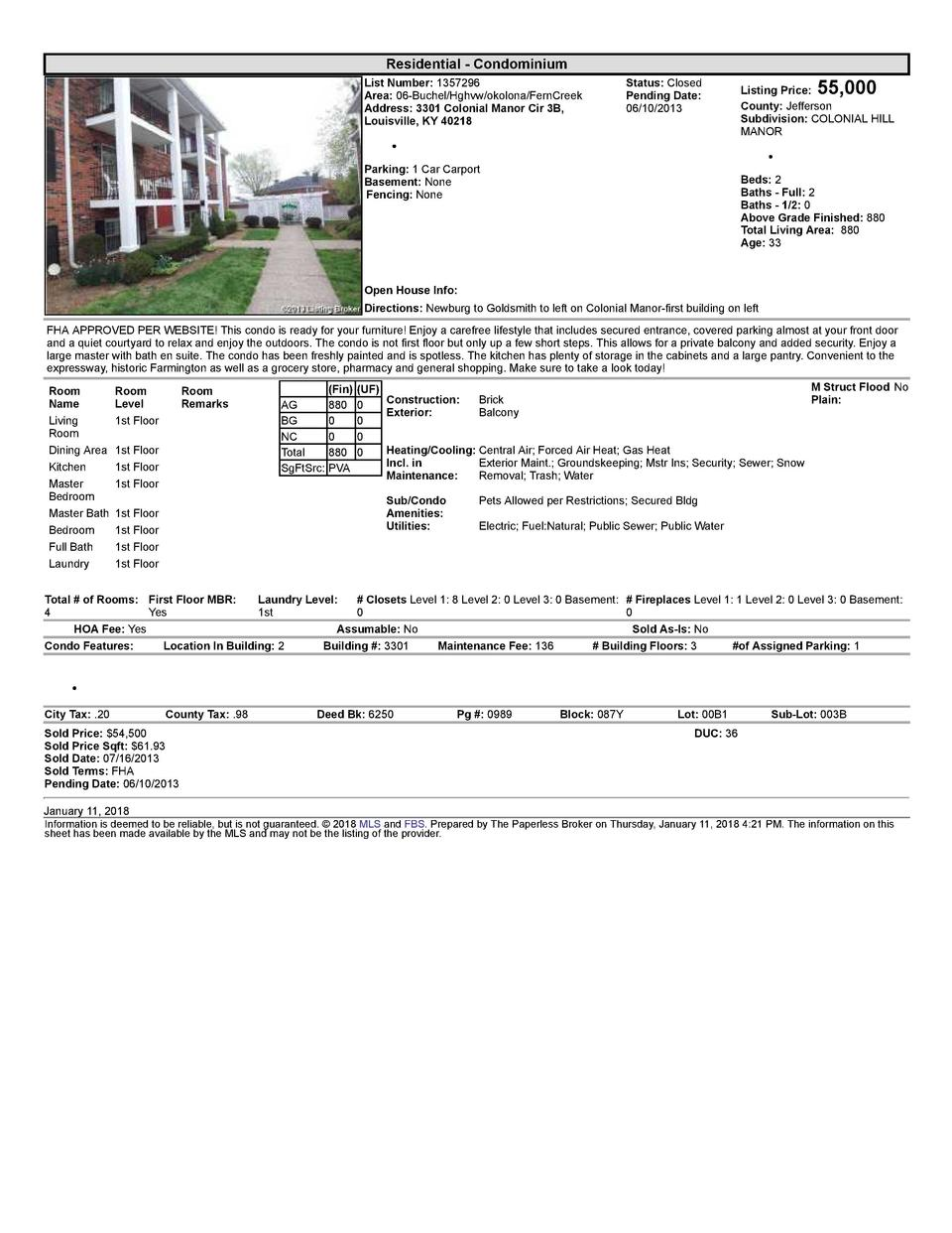 Residential      Condominium List  Number   1357296 Area   06  Buchel Hghvw okolona FernCreek Address   3301  Colonial ...