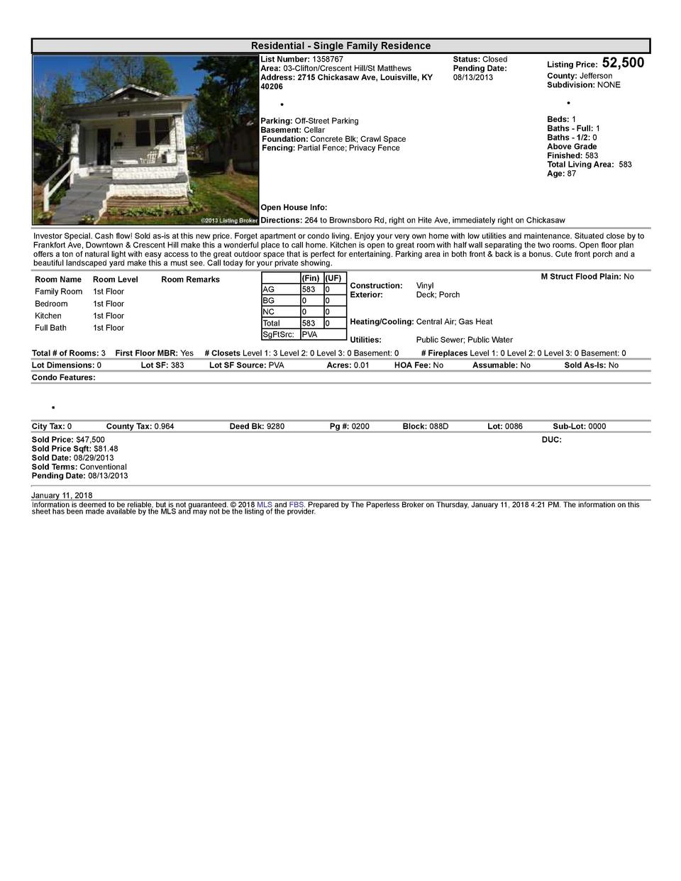 Residential      Single  Family  Residence List  Number   1358767 Area   03  Clifton Crescent  Hill St  Matthews Addres...