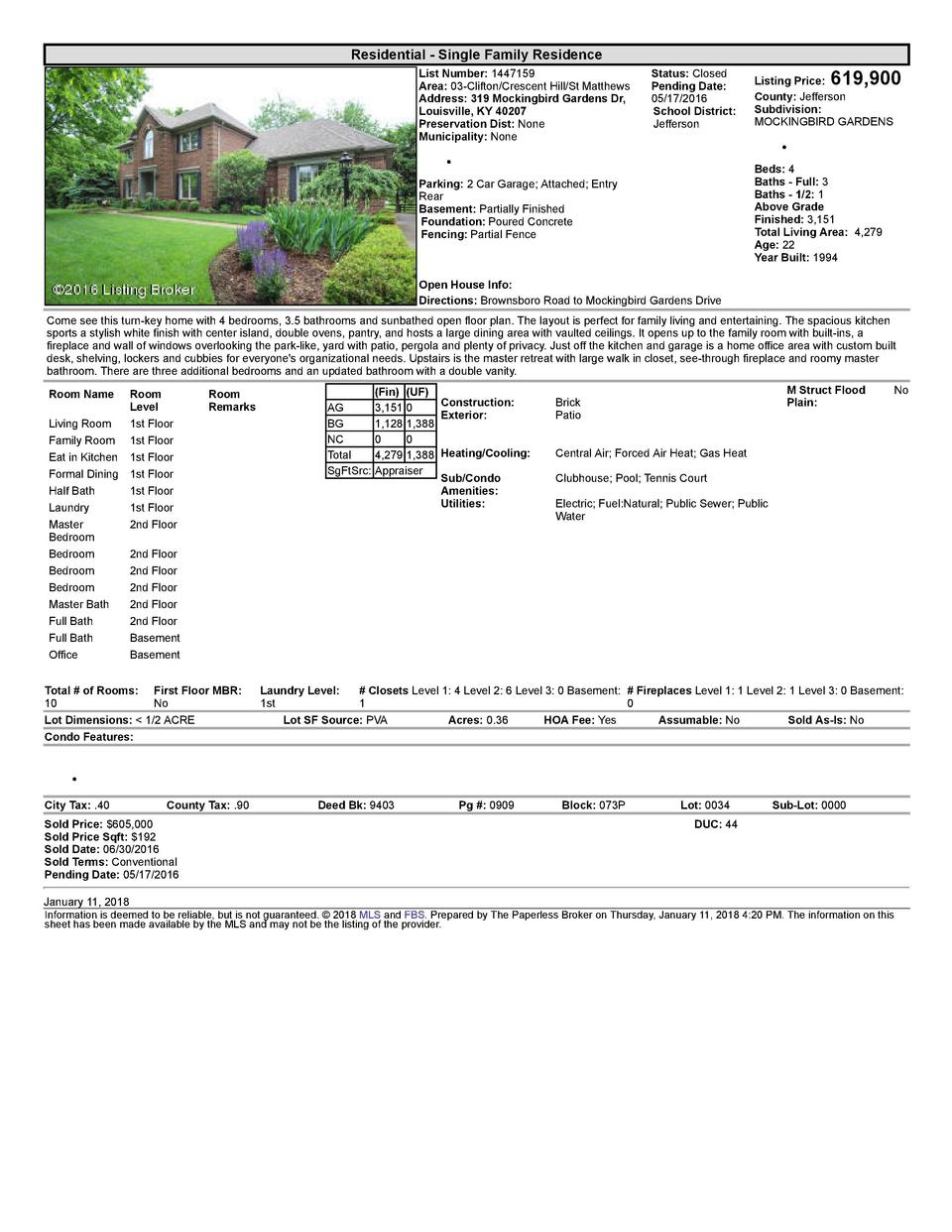 Residential      Single  Family  Residence List  Number   1447159 Area   03  Clifton Crescent  Hill St  Matthews Address  ...