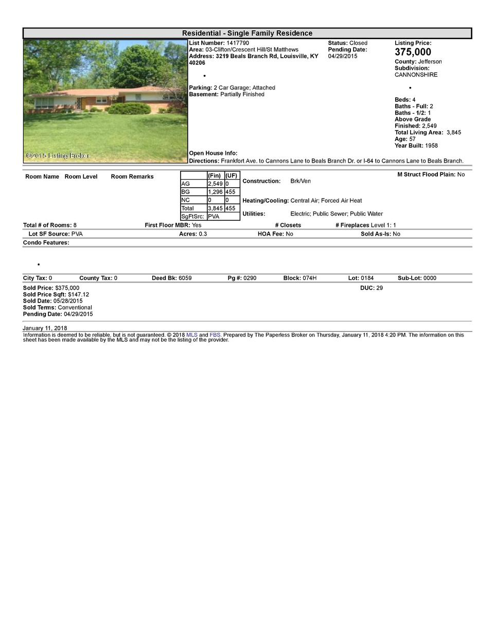 Residential      Single  Family  Residence List  Number   1417790 Area   03  Clifton Crescent  Hill St  Matthews Addres...