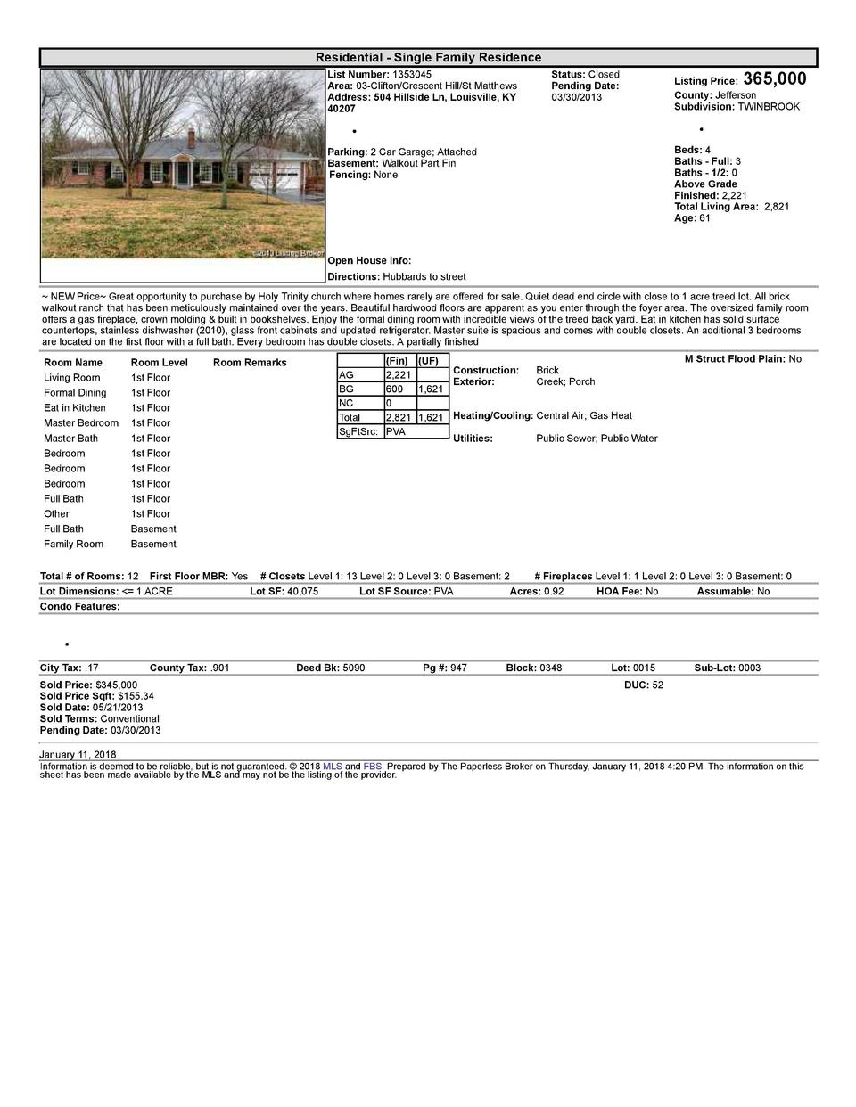 Residential      Single  Family  Residence List  Number   1353045 Area   03  Clifton Crescent  Hill St  Matthews Addres...