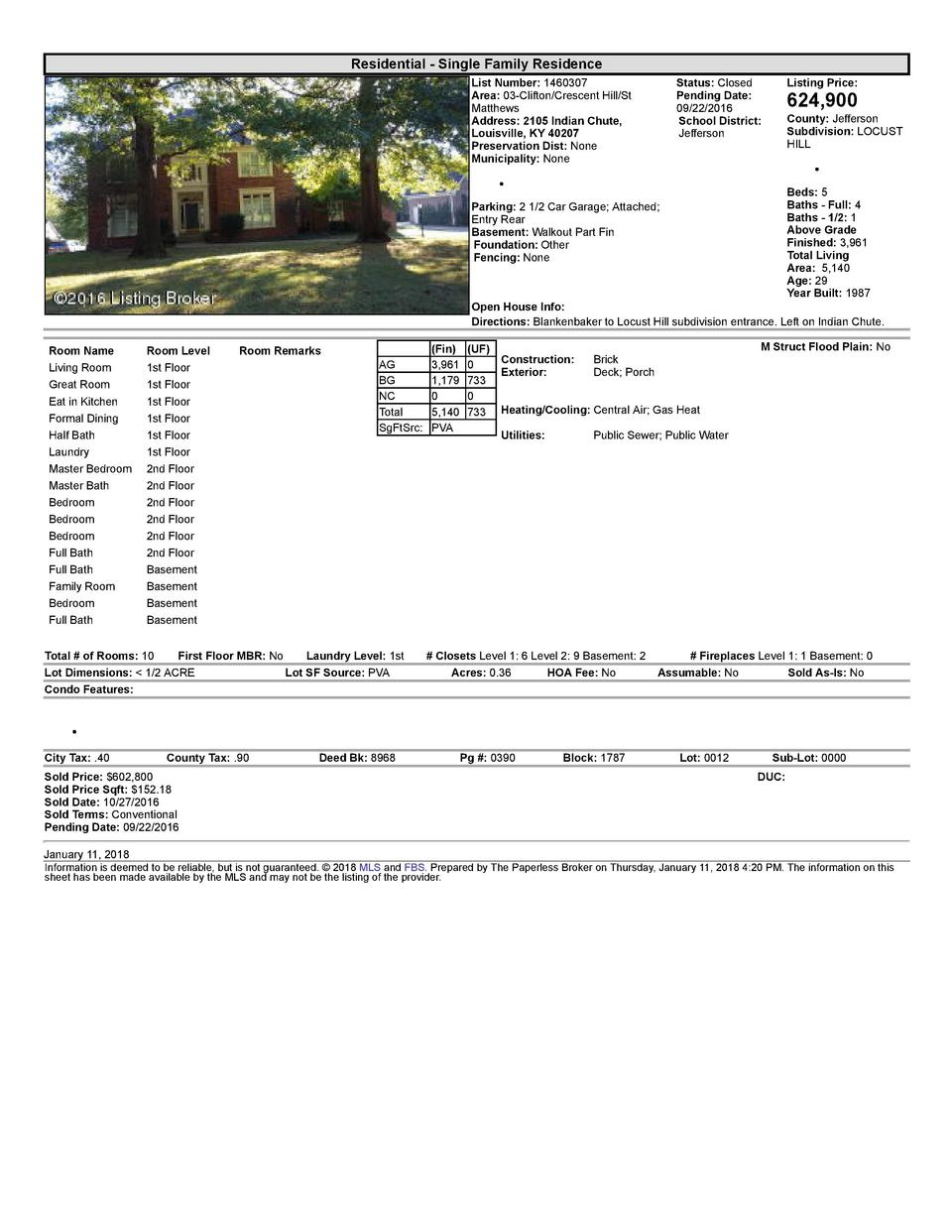 Residential      Single  Family  Residence List  Number   1460307 Area   03  Clifton Crescent  Hill St Matthews Address...