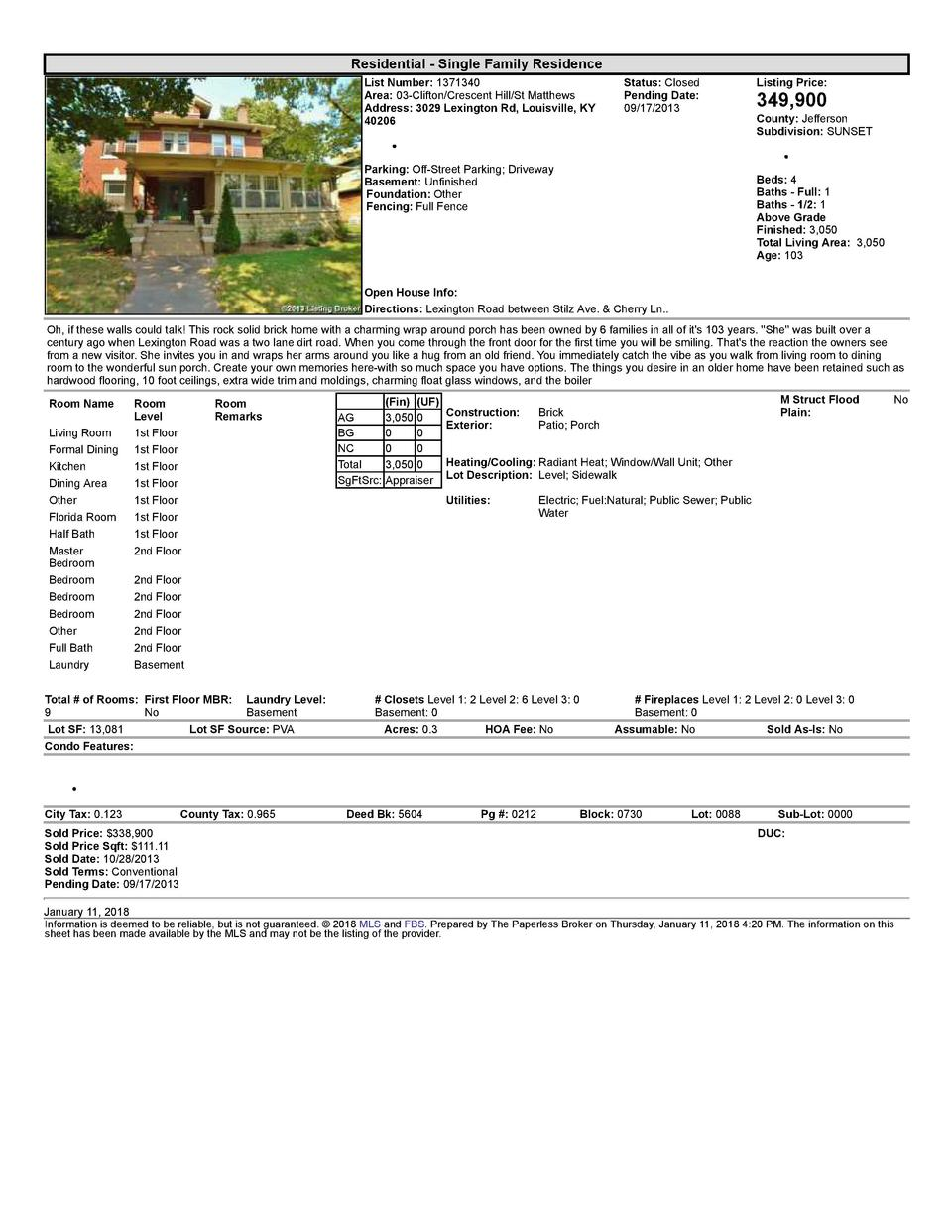 Residential      Single  Family  Residence List  Number   1371340 Area   03  Clifton Crescent  Hill St  Matthews Addres...