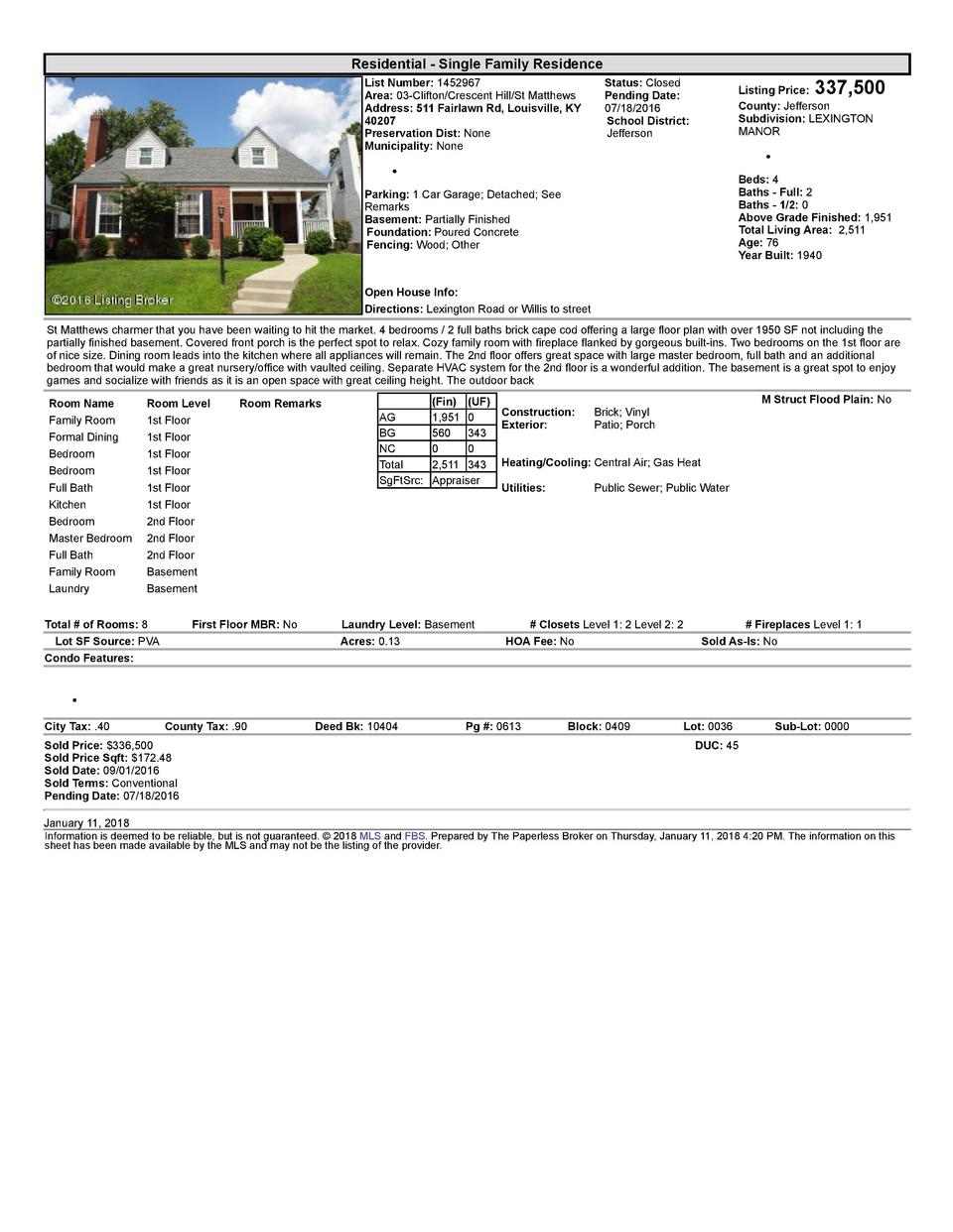Residential      Single  Family  Residence List  Number   1452967 Area   03  Clifton Crescent  Hill St  Matthews Addres...