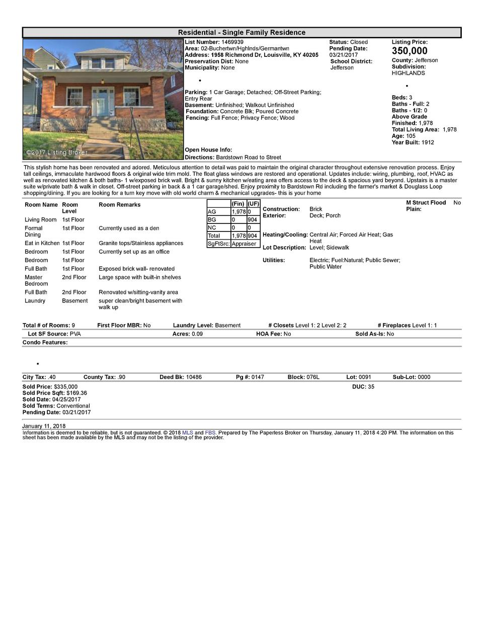 Residential      Single  Family  Residence List  Number   1469939 Area   02  Buchertwn Hghlnds Germantwn Address   1958...