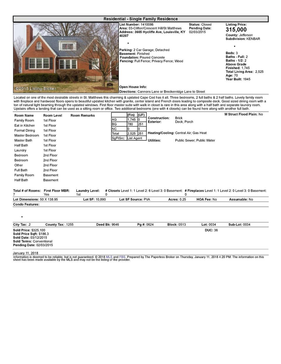 Residential      Single  Family  Residence List  Number   1410086    Status   Closed Area   03  Clifton Crescent  Hill ...