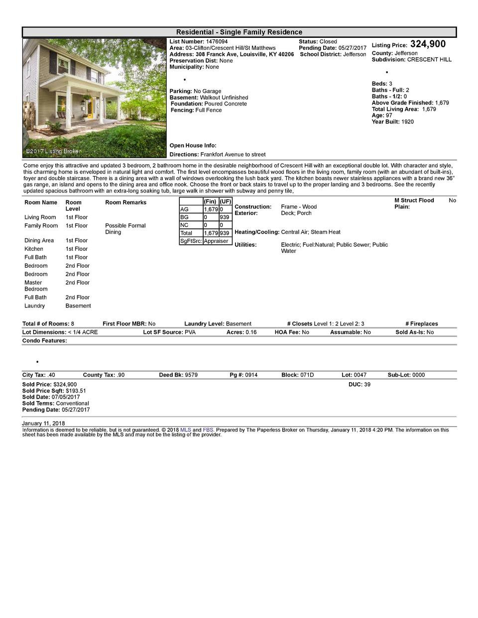 Residential      Single  Family  Residence    324,900  List  Number   1476094    Status   Closed    Area   03  Clifton ...