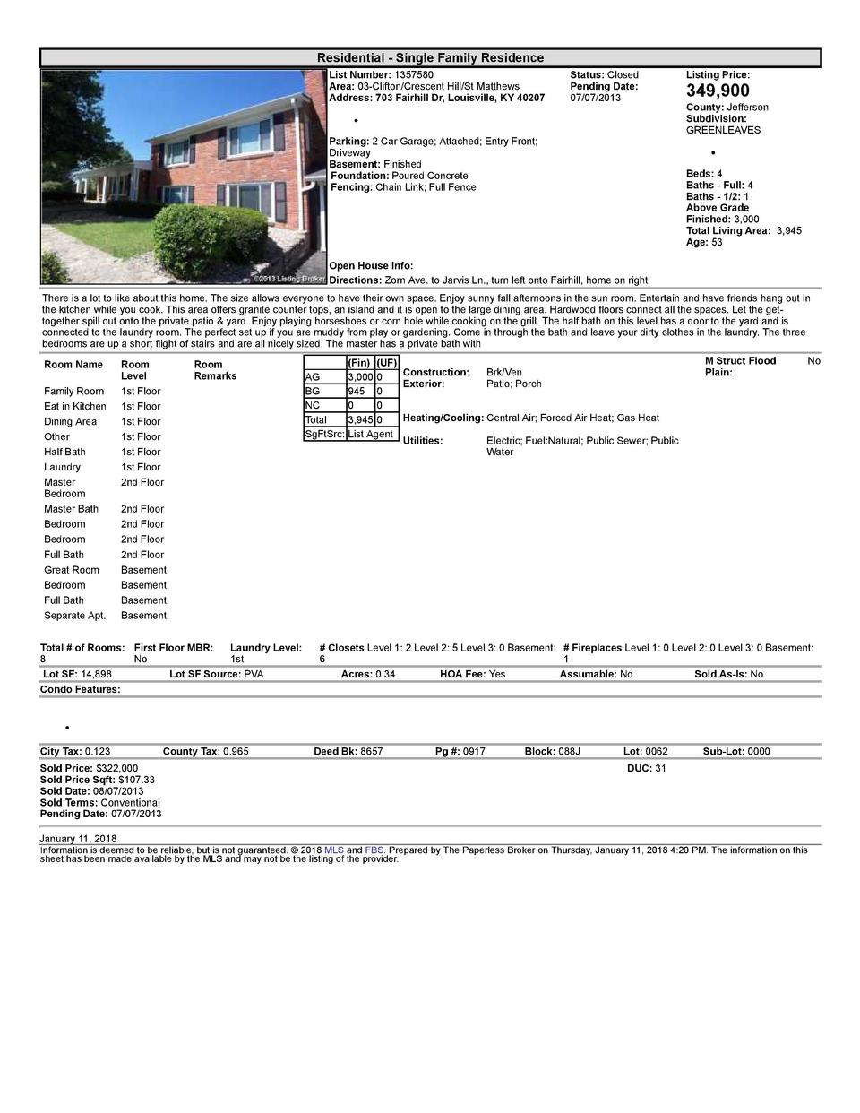 Residential      Single  Family  Residence List  Number   1357580 Area   03  Clifton Crescent  Hill St  Matthews Addres...