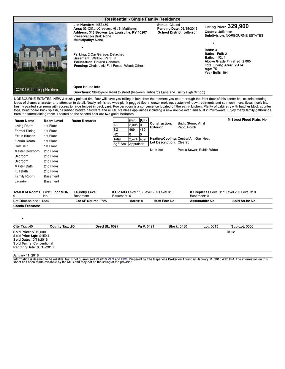 Residential      Single  Family  Residence List  Number   1453430    Area   03  Clifton Crescent  Hill St  Matthews Add...