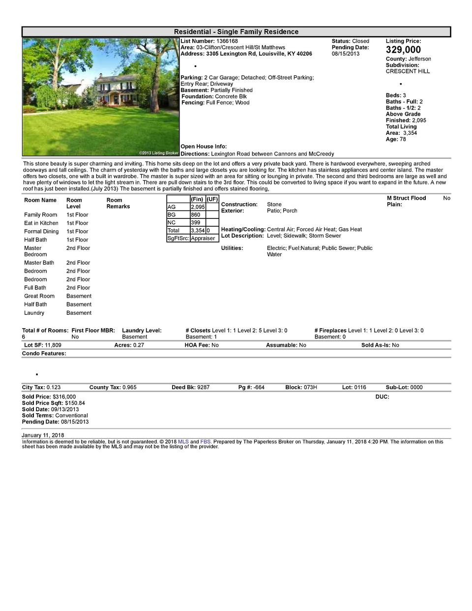 Residential      Single  Family  Residence List  Number   1366168 Area   03  Clifton Crescent  Hill St  Matthews Addres...