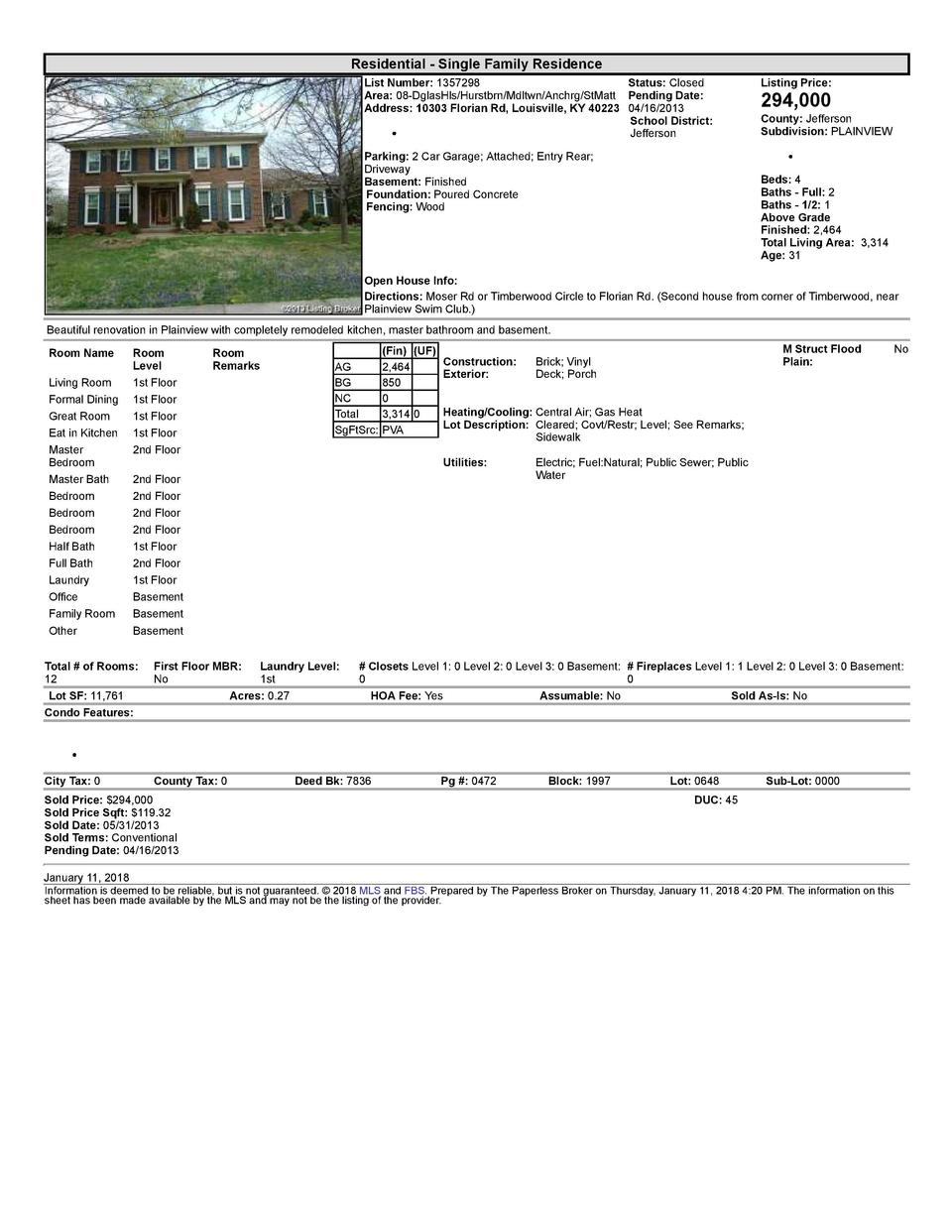 Residential      Single  Family  Residence List  Number   1357298    Status   Closed Area   08  DglasHls Hurstbrn Mdltw...