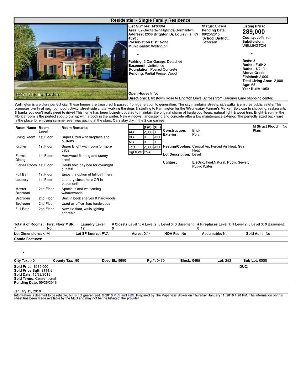 Residential      Single  Family  Residence List  Number   1430804    Status   Closed Area   02  Buchertwn Hghlnds Germa...