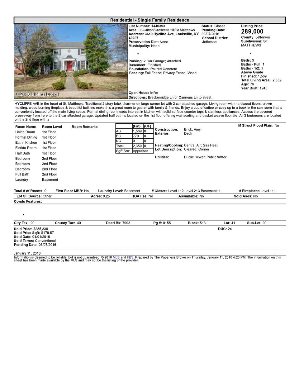 Residential      Single  Family  Residence List  Number   1440393    Status   Closed Area   03  Clifton Crescent  Hill ...