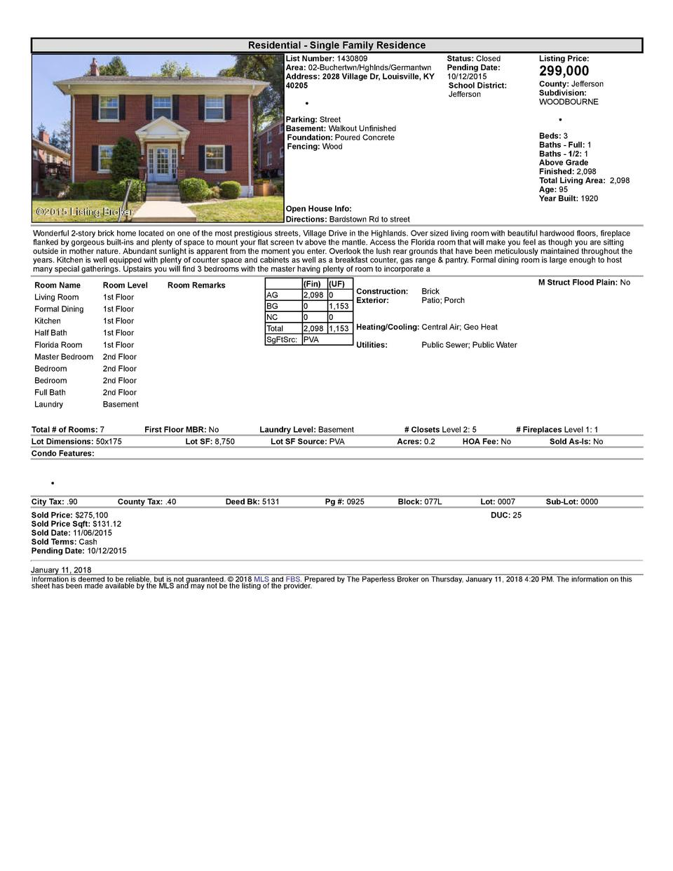 Residential      Single  Family  Residence List  Number   1430809 Area   02  Buchertwn Hghlnds Germantwn Address   2028...