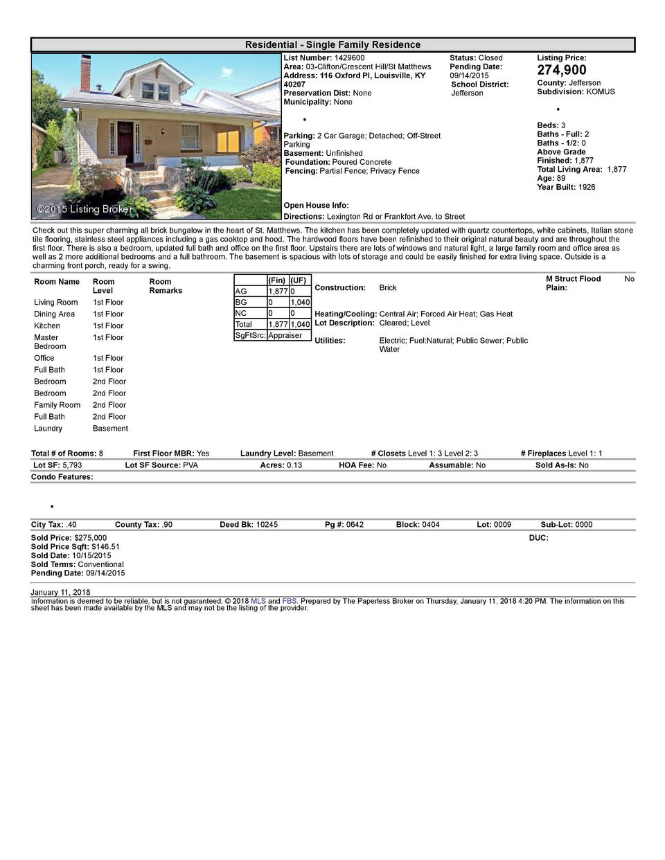 Residential      Single  Family  Residence List  Number   1429600 Area   03  Clifton Crescent  Hill St  Matthews Addres...