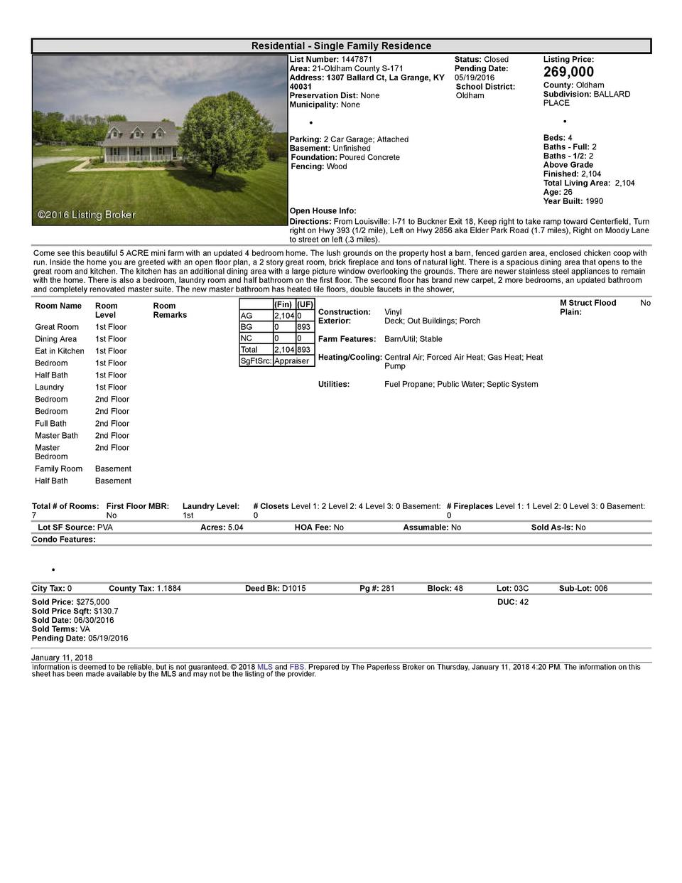 Residential      Single  Family  Residence List  Number   1447871    Status   Closed Area   21  Oldham  County  S  171 ...