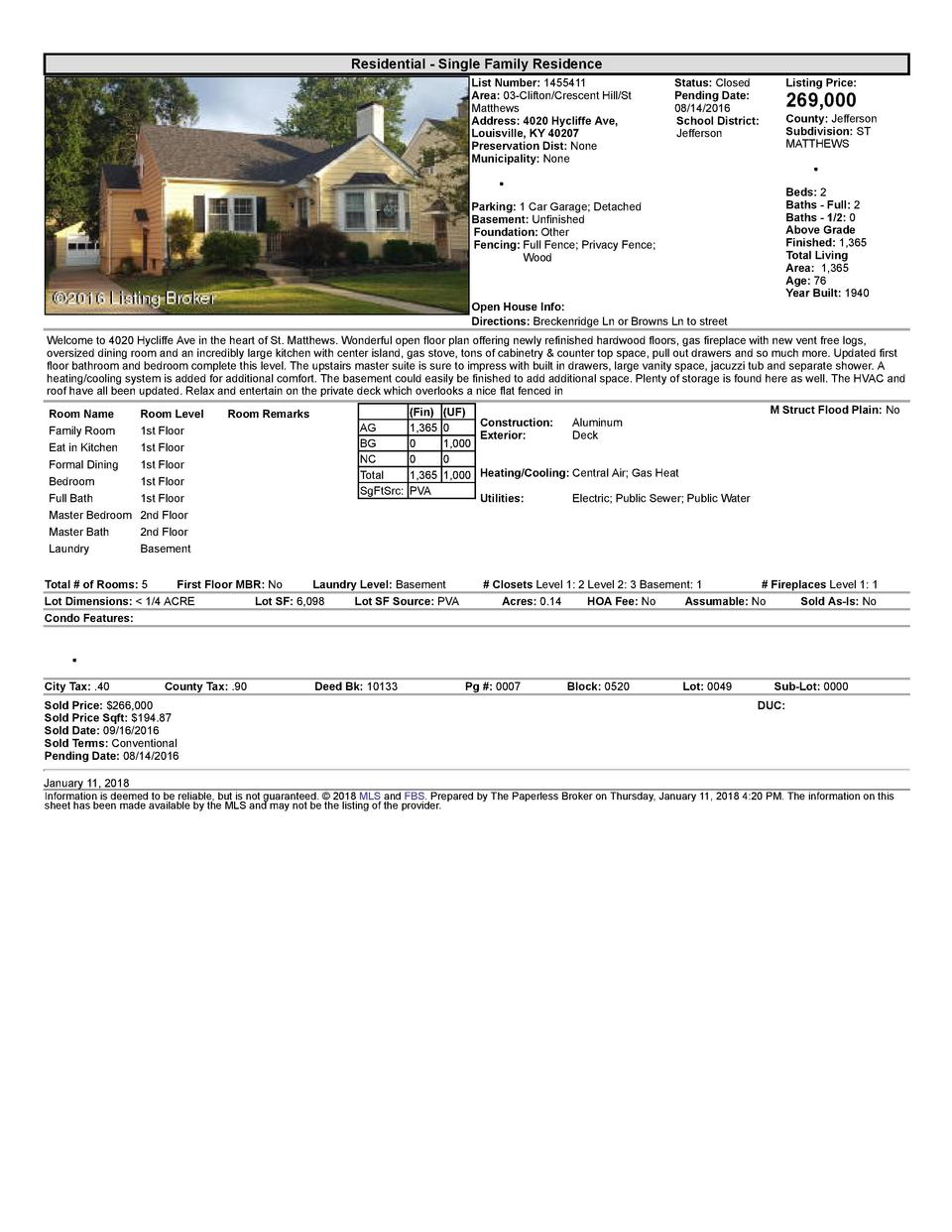 Residential      Single  Family  Residence List  Number   1455411 Area   03  Clifton Crescent  Hill St Matthews Address...