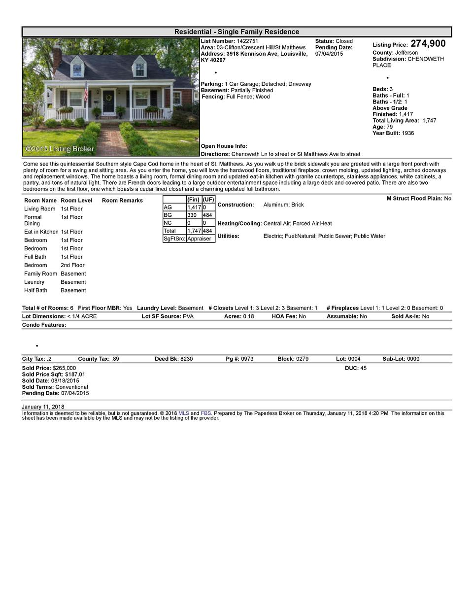 Residential      Single  Family  Residence List  Number   1422751    Status   Closed Area   03  Clifton Crescent  Hill ...